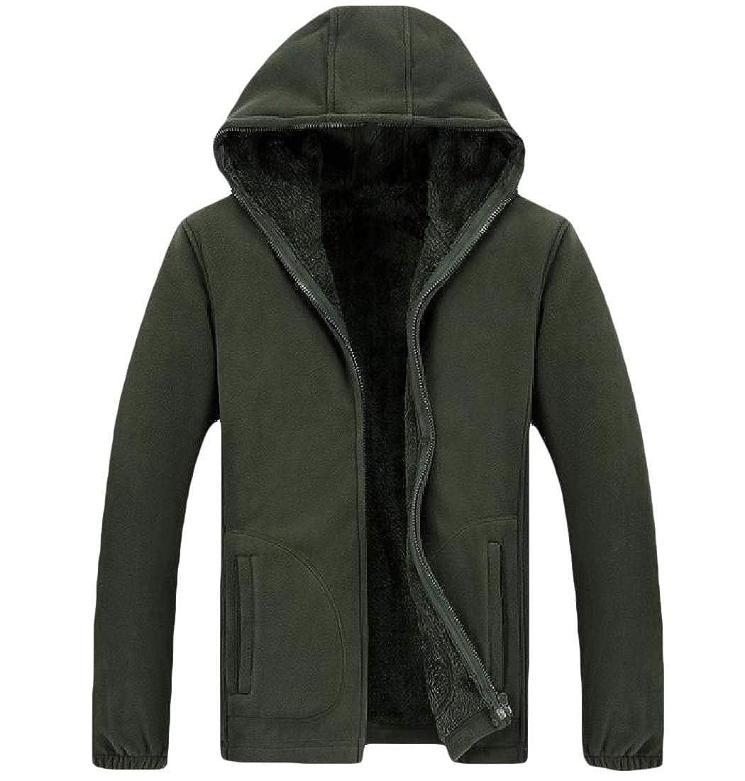 Zimaes-Men Fleece Zip Long-Sleeve Plus-Size Hood Outwear Sweatshirts