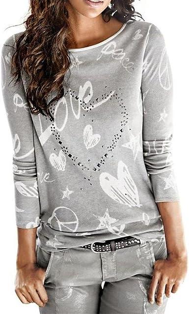 Camisa de Mujer Manga Larga O-Cuello Carta Impreso Algodón Casual Suelto Blusa Tops Camiseta LMMVP (S, Gris): Amazon.es: Ropa y accesorios