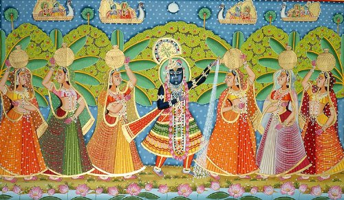 Krishna Teasing Gopis - Water Color Painting On Cotton Fabric