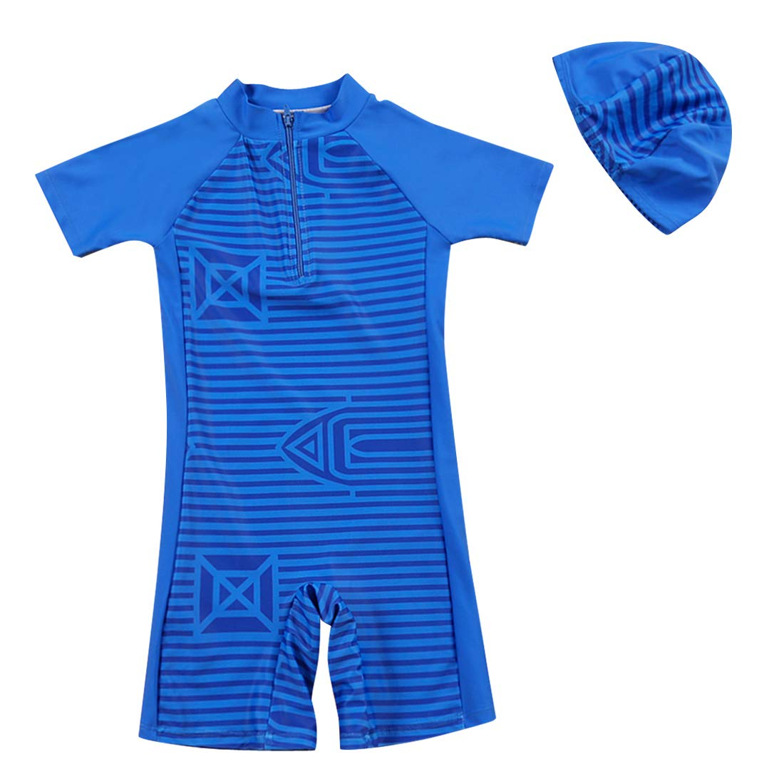 Happy Cherry Baby Boys' Swimwear One Piece with Swimming Cap for 1-10T Toddler Boy