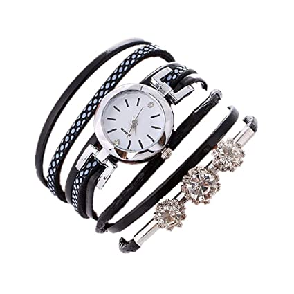 Ba Zha Hei Pulsera para Mujer Diamond Circle Watch Student Fashion Table de Devanado de Diamantes