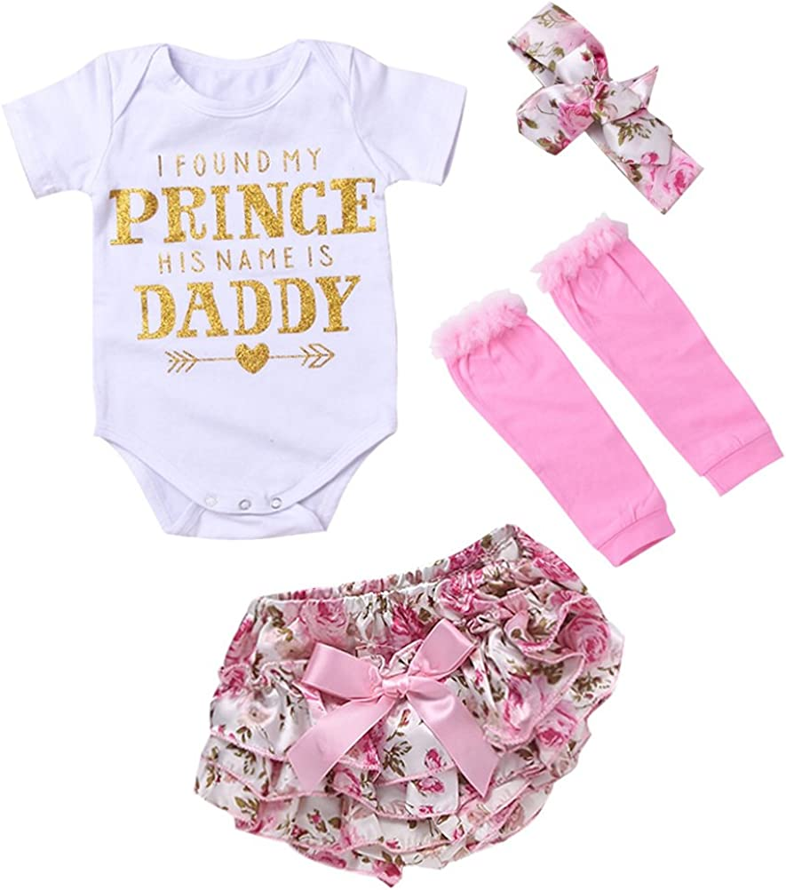 ARAUS Newborn Baby Girls Print Letters T-shirt+Floral Bow+Briefs+pants Suit Swimsuit Bathing Suits 4 Pack for Toddler Infant