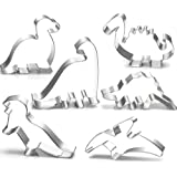 Dinosaur Cookie Cutter Set-3 Inches-6 Piece-Stegosaurus, T-Rex, Brontosaurus, Camarasaurus, Pterosaur, Baby Dinosaur Cookie Cutters molds for Kids Birthday Party Supplies Favors