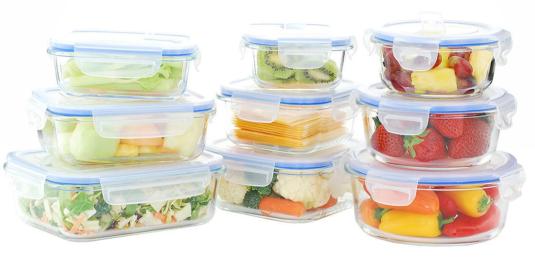 Kinetic 18 Piece (36oz,32oz,27oz,22oz,20oz,17oz,14oz,12oz,10oz) GoGreen Glassworks Elements Glass Food Storage Container Set with Leak Proof Microwave Vented Lids; (9 Containers and 9 Lids);55047