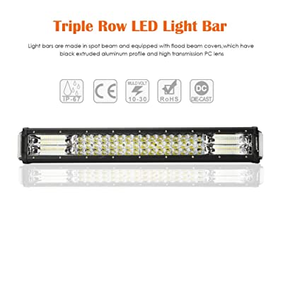 Auxbeam 22 Inch LED Light Bar 96W Triple Row Work Light Bar with Side Shooter Light Off Road Driving Light for Trucks 4x4 Military Mining Boating Farming and Heavy Equipment: Automotive