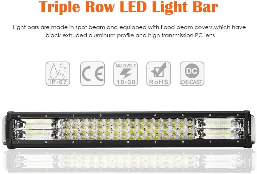 Auxbeam 22 Inch LED Light Bar 96W Triple Row Work Light Bar with Side Shooter Light Off Road Driving Light for Trucks 4x4 Military Mining Boating Farming and Heavy Equipment