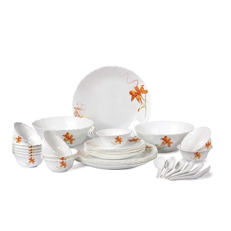 Cello Orange Lily Opalware Dinner Set, 32-Pieces, White