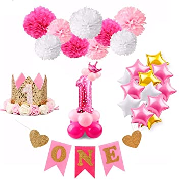 Birthday Decoration Girl Pink Unicorn Balloons Baby First Party Decor Hot Pompoms For