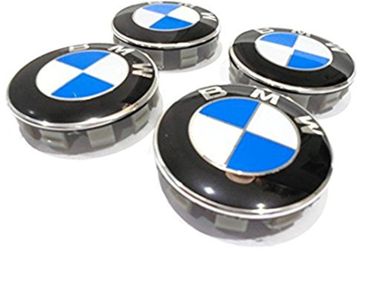 Juego de 4 tapacubos centrales para llantas de 68 mm con insignia de BMW en color azul y blanco para los modelos Serie 1 3 4 5 6 7 8 X1 X3 ...