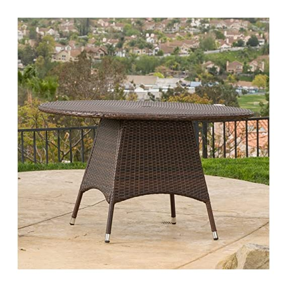 Christopher Knight Home Kanza Outdoor Brown Wicker Round Dining Table - For the perfect stylish outdoor Dining Table, look no further than the Christopher Knight Home corsica Dining Table Manufactured in China Assembly required but completely worth it - patio-tables, patio-furniture, patio - 61xP3DL9ZxL. SS570  -