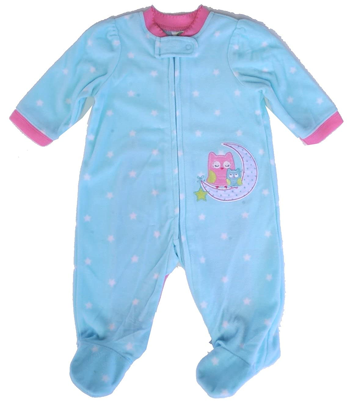 e7fe190e5 Amazon.com  Little Me Minty Moonlight Owl Blanket Sleeper  Clothing