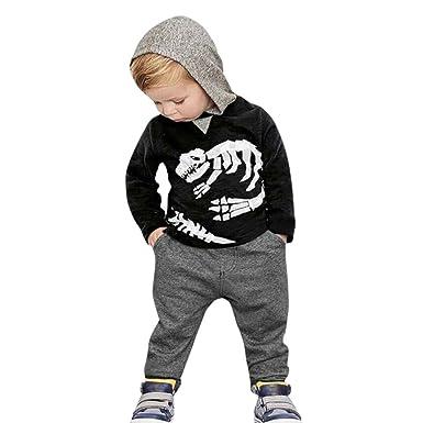70f92138c Dinglong 2Pcs Toddler Kid Baby Boys and Girls Long Sleeve Dinosaur Bones  Hooded Pullover Tops+