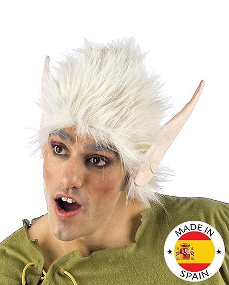Peluca blanca con orejas de elfo - Única
