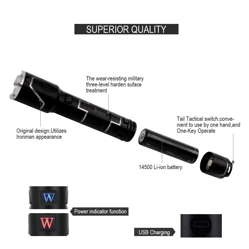 Wuben Usb Rechargeable Tactical Flashlight Led Waterproof Threelevel Audio Power Indicator Electronics Circuits For You Ipx 8 Torch Aluminum Li Ion Battery Cree Xpl V5 Black 331
