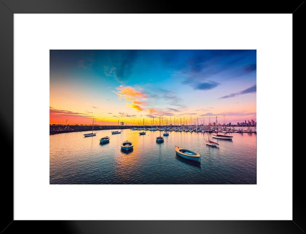 Yachts Sailboats in Harbor at Sunset Photo Framed Poster 20x14 inch