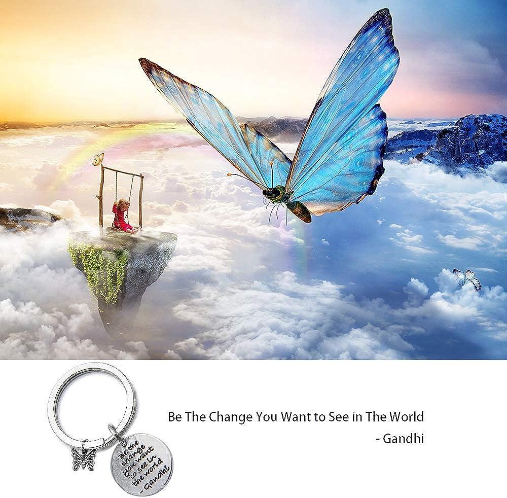 Portachiavi con citazione in lingua inglese Be the change you want to see in the world con ciondolo a forma di farfalla,