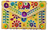 Rajasthani Jaipuri Art Sling Bag Foldover Clutch Purse-Quality Checked-Golden with Yellow