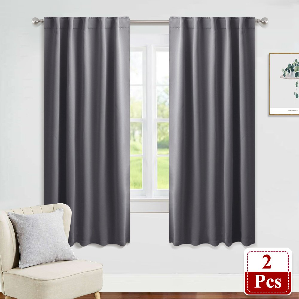 PONY DANCE Window Treatments Curtains - Gray Blackout Drapes Home Decoration Light Blocking Thermal Insulated Back Tab/Rod Pocket Curtain Panels for Living Room, W42 by L63, Grey, 1 Pair