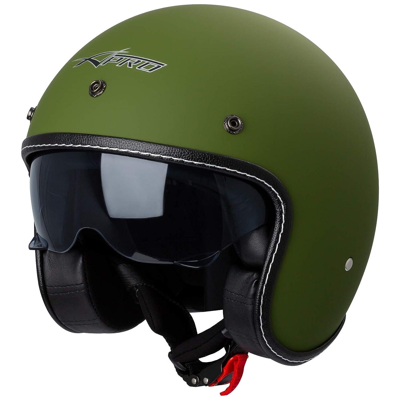Motorrad Jet Helm Cafe Racer ECE 22-05 Sonnenblende Scooter Blau L