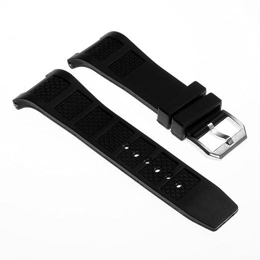 StrapsCo 30 mm negro caucho de silicona reloj banda correa para IWC Ingenieur familia 263iwc iwc500501: Amazon.es: Relojes
