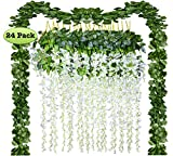 24 Pack Artificial Fake Wisteria Vine Rattan Hanging Garland Silk Flowers String and Ivy Leaf Foliage for Home Kitchen Garden Office Wedding Wall Decor (white, 24)