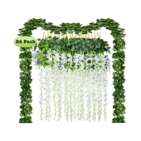 12 Pack Artificial Fake Wisteria Vine Rattan Hanging Garland Silk Flowers String and 12 Pack Ivy Leaf Foliage for Home Kitchen Garden Office Wedding Wall Decor (White, 24)
