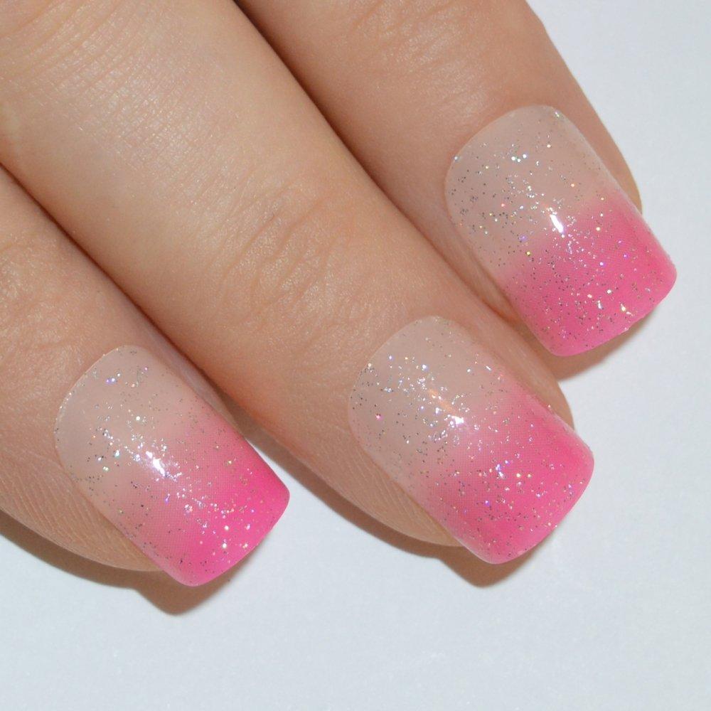 Amazon.com: Bling Art False Nails French Fake Pink Fuschia Gel ...