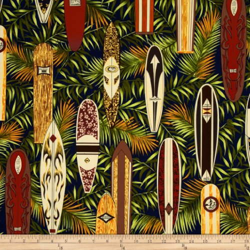 Hoffman Fabrics Hoffman Tropical Collection Surfboard Navy Fabric By The Yard, - Tropical Surfboard