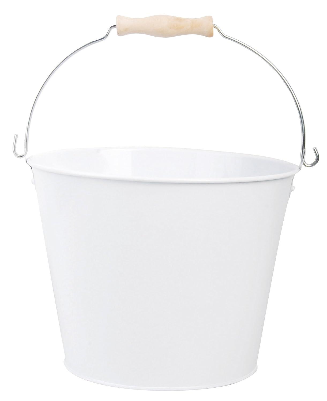 White enamel bucket with handle