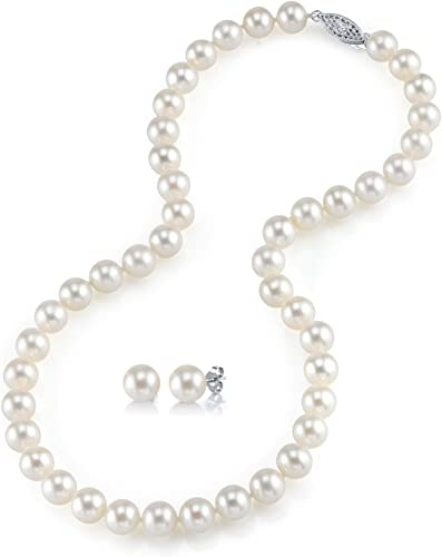 THE PEARL SOURCE 14K Gold White Freshwater Cultured Pearl Necklace in 18 Inch Princess Length and AAAA Quality