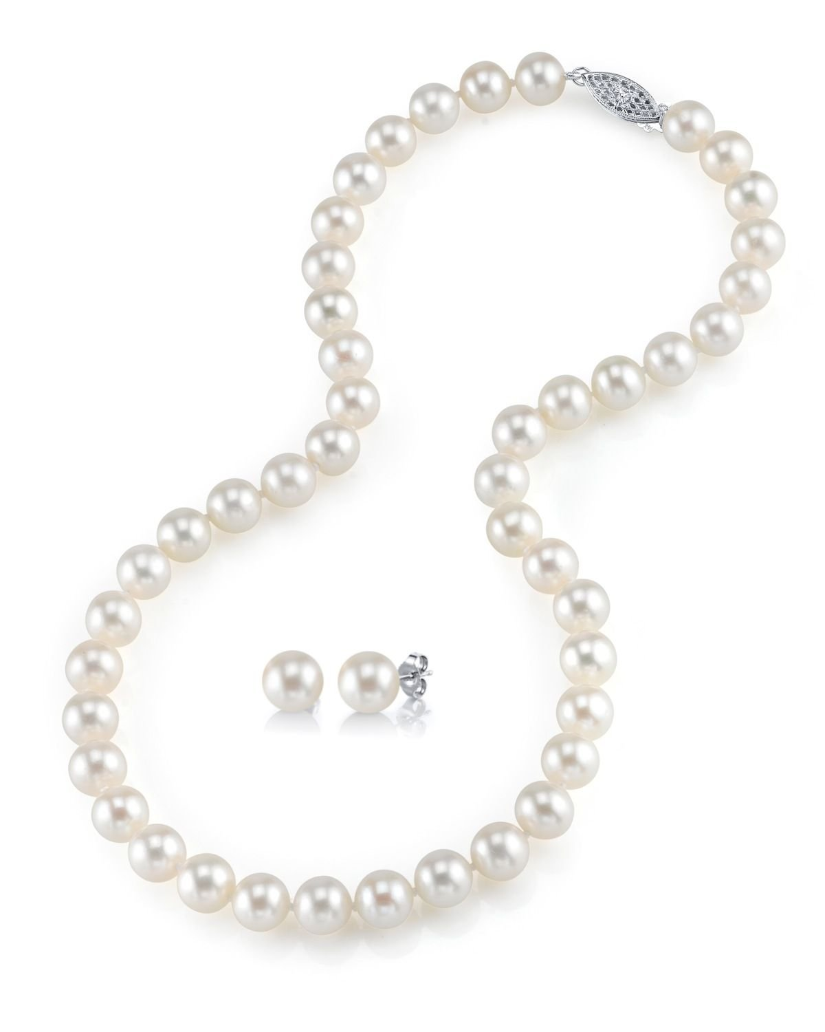 Freshwater Cultured Pearl Necklace & Earrings Set, 18 Inch Princess Length - AAAA Quality