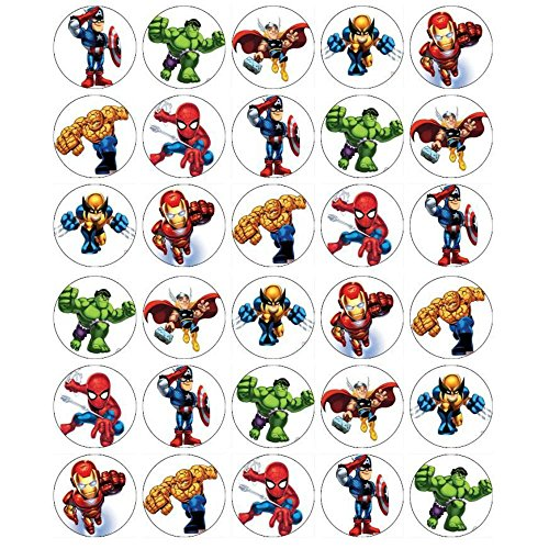 Superhero Squad Cupcake Toppers Edible Wafer Paper BUY 2 GET 3RD FREE ()