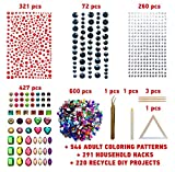 COZYOURS 1680 pack Self-Adhesive multicolor Rhinestone Stickers & Gems Acrylic Flatback Rhinestones Gemstone Embellishments with Tweezers, Plate & Wooden Sticks