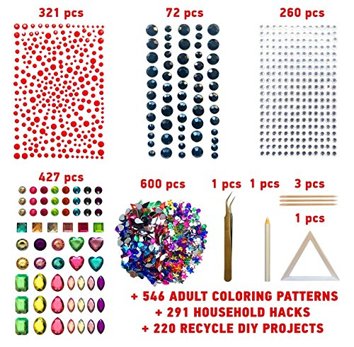 COZYOURS 1680 pack Self-Adhesive multicolor Rhinestone Stickers & Gems Acrylic Flatback Rhinestones Gemstone Embellishments with Tweezers, Plate & Wooden Sticks by COZYOURS
