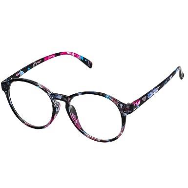 7362273e3d898 Forepin® Montura para Gafas de Vista Mujeres y Hombre Retro Redonda Vintage  Visión Clara Glasses Cristal Lente Transparente - Florida azul  Amazon.es   Ropa ...