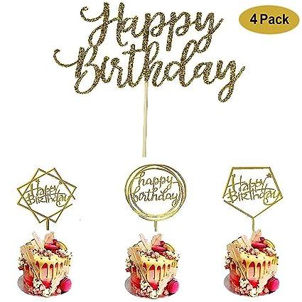 Paquete de 4 decoraciones de acrílico para tartas de ...