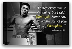 Funny Ugly Christmas Sweater Muhamm Ali Champion's Quote Black and White Photo Portrait Ali Photos Muhamm Ali Canvas Wall Art Sport Quotes Wall Decor for Bedroom 8