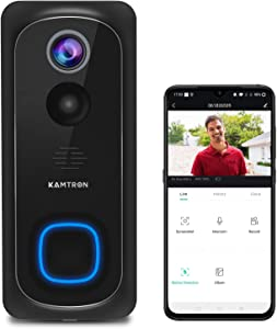 WiFi Video Doorbell Camera,KAMTRON Wireless Doorbell Camera with Chime,1080P HD PIR Motion Detection with 2-Way Audio,IP65 Waterproof and Night Vision,32GB SD Card Installed,Cloud Storage Available