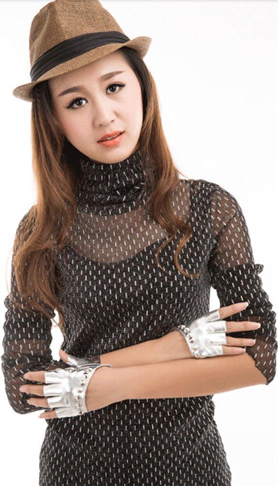 Blancho Women Gloves Dance Rivets Fingerless Gloves