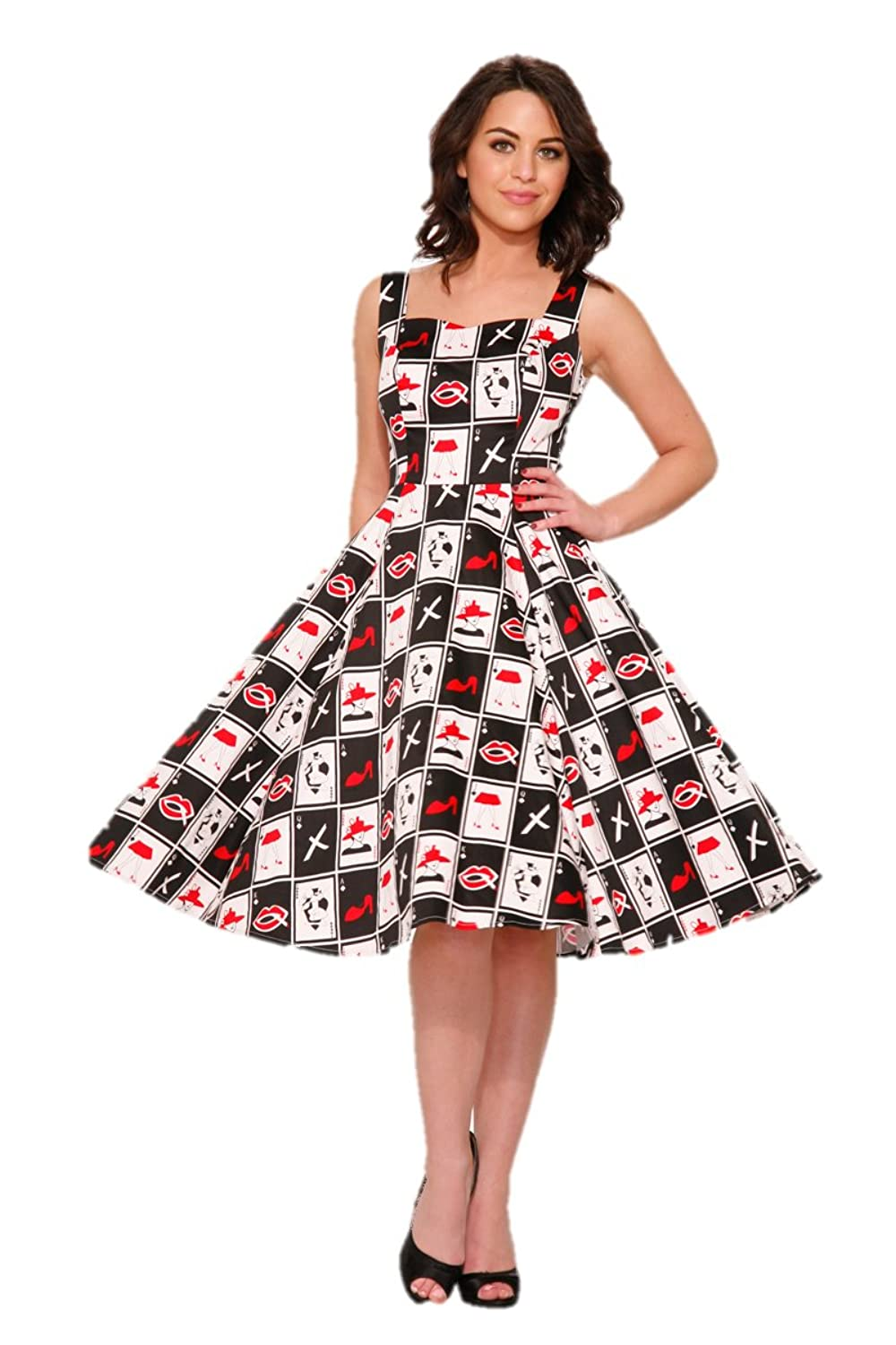Rockabilly Dresses | Rockabilly Clothing | Viva Las Vegas Hearts & Roses Deuces Wild Dress (Shipped from US and US Sizes) $54.88 AT vintagedancer.com