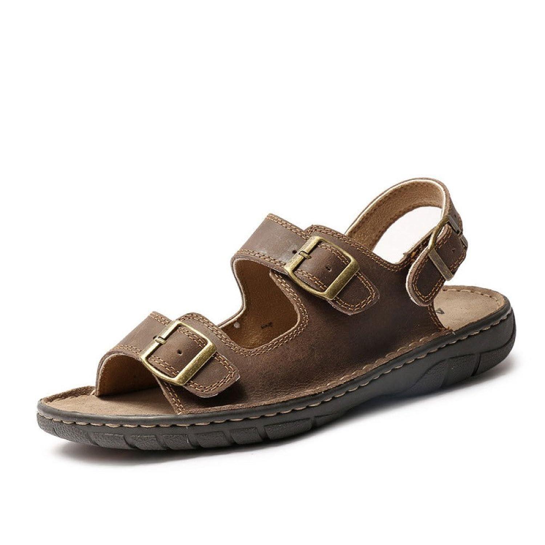 Sandalias De Verano Zapatos De Playa Zapatos Casuales para Hombres Zapatos con Hebillas Planas Lightbrown
