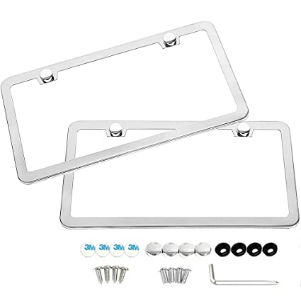 Amazon.com: Slim Style Polished Stainless Steel License Plate Frame ...