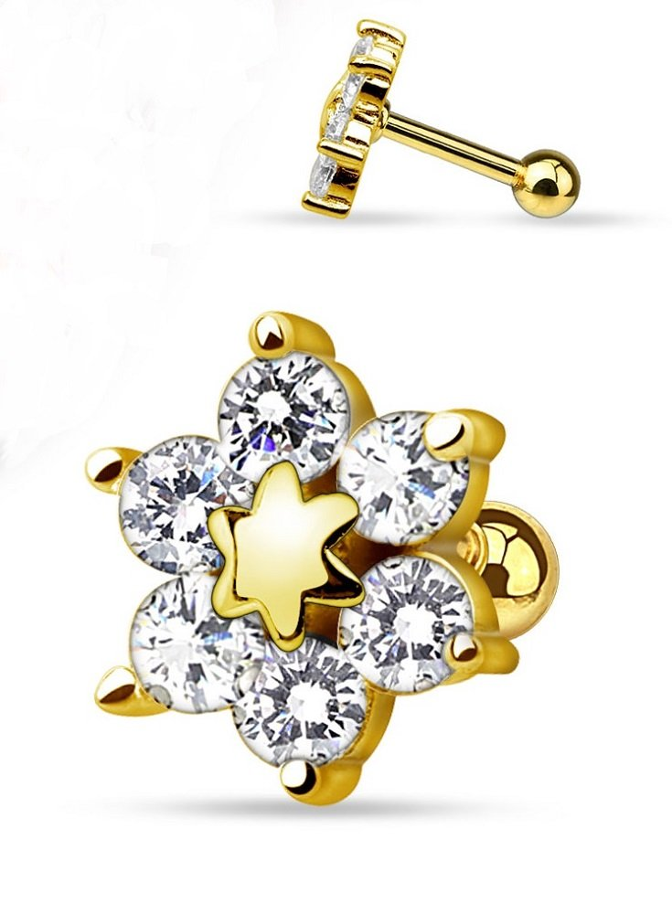 Elegant Gold Plated Six CZ Flower Freedom Fashion 316L Surgical Steel Cartilage/Tragus Barbell (Gold/Clear)