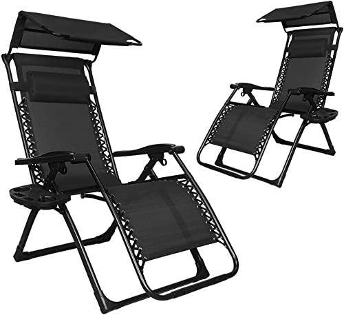 EACHPOLE 2-Pack Infinity Zero Gravity Patio Lounge Chair with Sun Shield Canopy and Cup Holder, Black, APL1557