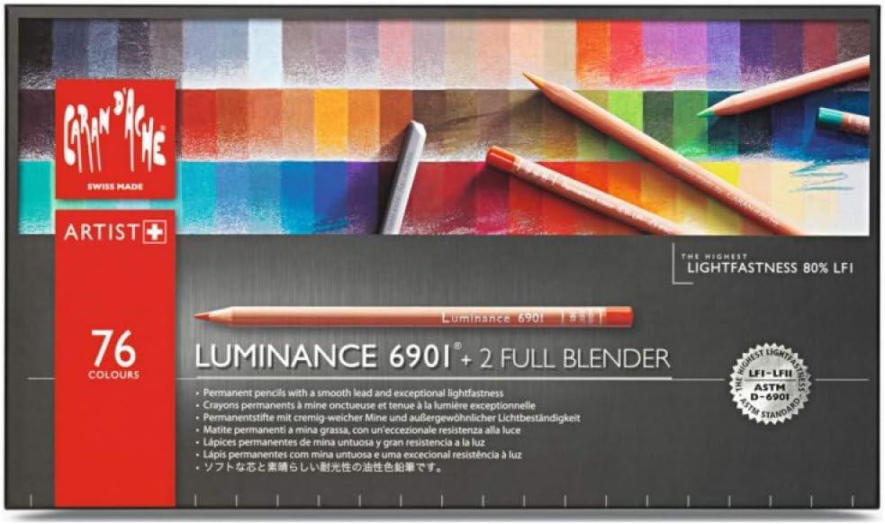 Caran dache Luminance 6901 - Paquete de 76 lápices de colores ...