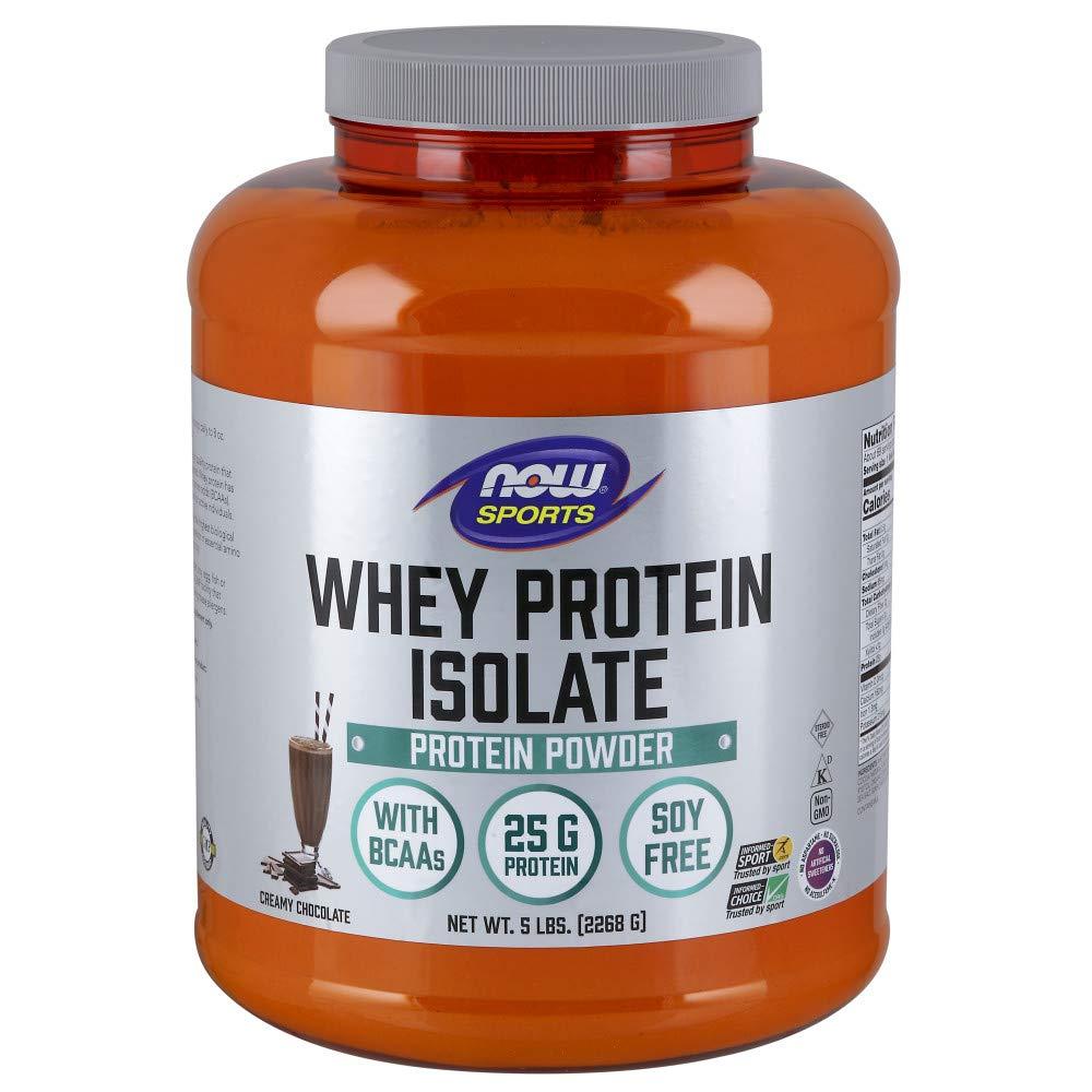 NOW Sports Whey Protein Isolate, Creamy Chocolate, 5-Pound