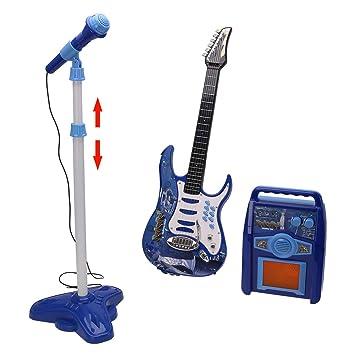 MRKE 3 EN 1 Guitarra Microfono Amplificador Set Juguete para Infantil Niño y Niña 3-8 Años (Azul): Amazon.es: Juguetes y juegos