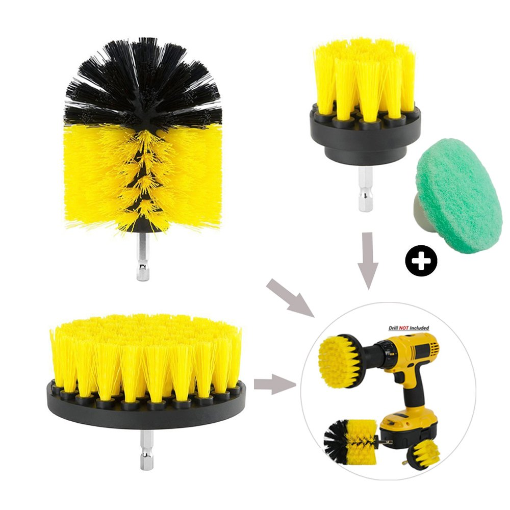 Drill Brush Electric Drill bit Brush Drill attachment Brush for Kitchen Sinks Stoves Linoleum Tiles Floor Corners Bathroom cleaning power scrubber Brush Combo Kit (yellow)