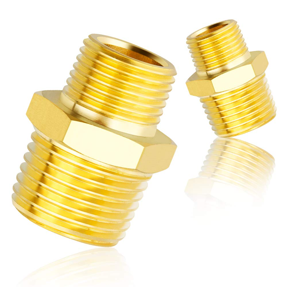 1//2 Inch NPT x 3//8 Inch NPT,Solid Brass Male Pipe Tailonz Pneumatic Pipe Fitting and Air Hose Fitings Hex Nipple Coupling Set 5 PCS