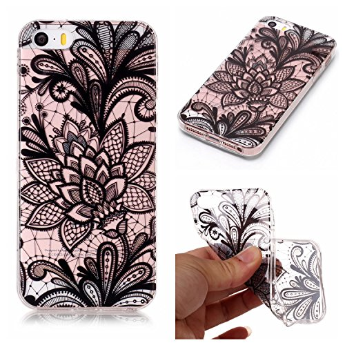 Custodia iPhone 5 5S SE , LH Nero Fiore TPU Trasparente Silicone Cristallo Morbido Case Cover Custodie per Apple iPhone 5 5S SE